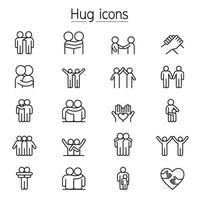 ícones de abraço, cuidado, apoio e amizade em estilo de linha fina
