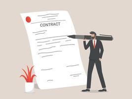 empresário assinando contrato vetor