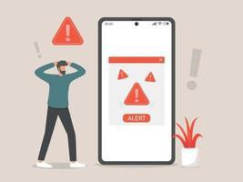 ícone de arquivo de alerta ou conceito de mensagem de cuidado vetor