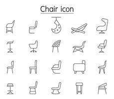 ícones de linha de cadeira colocados em vista lateral vetor