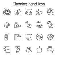 conjunto de ícones de lavagem de mãos em estilo de linha fina