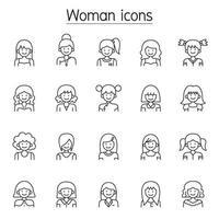 ícone de mulher definido em estilo de linha fina vetor