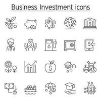 ícone de investimento empresarial definido em estilo de linha fina vetor