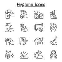 conjunto de ícones de linha do vetor relacionados à higiene.