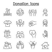 conjunto de ícones de linha de doação e caridade.