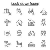 ícones de bloqueio definidos em estilo de linha fina vetor
