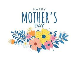 feliz dia das mães letras em uma ilustração de fundo branco vetor
