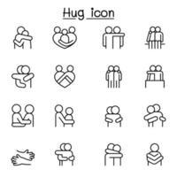 amante, abraço, amizade, ícone de relacionamento definido em estilo de linha fina