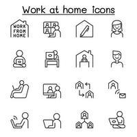 conjunto de ícones de linha de trabalho em casa.