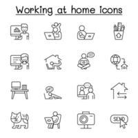 trabalhar em casa ícones definidos em estilo de linha fina