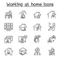 trabalhando em casa ícones definidos em estilo de linha fina