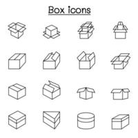 ícones de caixa definidos em estilo de linha fina