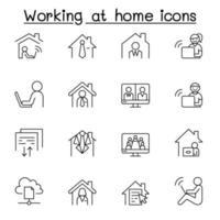 trabalhando em casa ícone definido em estilo de linha fina