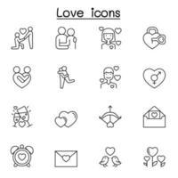 ícone de amor definido em estilo de linha fina