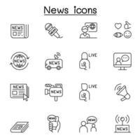 ícones de notícias em estilo de linha fina