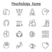 ícones de psicologia definidos em estilo de linha fina