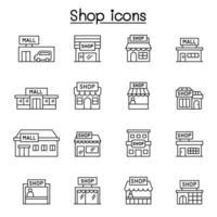 conjunto de ícones de linha de loja.