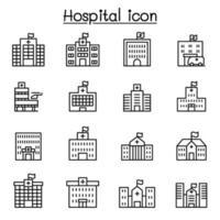 ícone de hospital definido em estilo de linha fina vetor