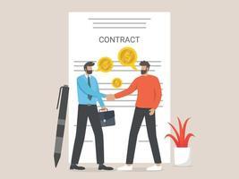 negócio, empresário assinando contrato vetor