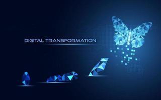 Transformação digital de negócios abstratos inovadores de evolução do ciclo de vida da borboleta fundo azul vetor