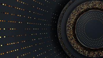 padrão de luxo abstrato em azul escuro com fundo de partículas de ouro vetor