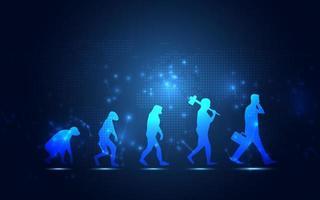evolução humana abstrata transformação digital inovadora da tecnologia vida fundo azul vetor