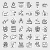 conjunto de ícones de linha de repórter de notícias