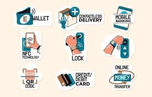 conjunto de adesivos de entrega e pagamento sem contato