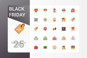 pacote de ícones de sexta-feira negra em fundo branco vetor