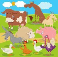 grupo de personagens de animais de fazenda de desenho animado no campo vetor