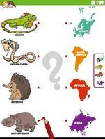 jogo educacional de combinar espécies animais e continentes vetor