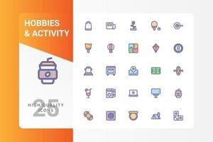 hobbies e atividades icon pack isolado no fundo branco. para o design do seu site, logotipo, aplicativo, interface do usuário. ilustração de gráficos vetoriais e curso editável. eps 10. vetor