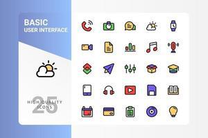 pacote básico de ícones de interface do usuário para o design do seu site, logotipo, aplicativo, interface do usuário. design básico de cor linear do ícone da interface do usuário. ilustração de gráficos vetoriais e curso editável. eps 10. vetor