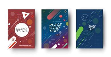 conjunto de design de capa de folheto e cartaz em ilustração de modelo de tamanho A4. vetor