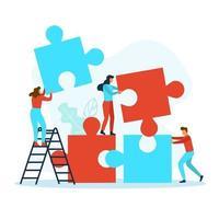 empresários com peças de quebra-cabeça vetor
