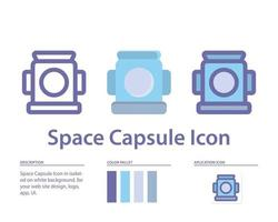 ícone da cápsula espacial em isolado no fundo branco. para o design do seu site, logotipo, aplicativo, interface do usuário. ilustração de gráficos vetoriais e curso editável. eps 10. vetor