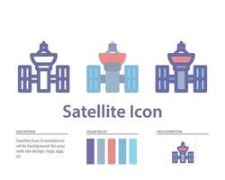 ícone de satélite isolado no fundo branco. para o design do seu site, logotipo, aplicativo, interface do usuário. ilustração de gráficos vetoriais e curso editável. eps 10. vetor