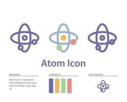 ícone do átomo em isolado no fundo branco. para o design do seu site, logotipo, aplicativo, interface do usuário. ilustração de gráficos vetoriais e curso editável. eps 10. vetor
