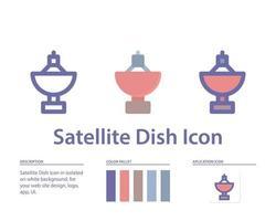 ícone de antena parabólica em isolado no fundo branco. para o design do seu site, logotipo, aplicativo, interface do usuário. ilustração de gráficos vetoriais e curso editável. eps 10. vetor