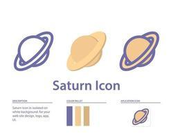 ícone de Saturno em isolado no fundo branco. para o design do seu site, logotipo, aplicativo, interface do usuário. ilustração de gráficos vetoriais e curso editável. eps 10. vetor