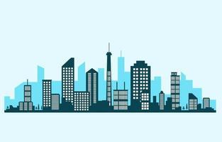 cidade edifício construção paisagem urbana horizonte negócios ilustração vetor