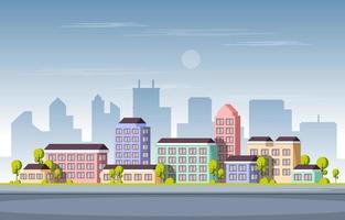 rua cidade edifício construção paisagem urbana horizonte negócios ilustração vetor