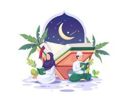 casal muçulmano lendo e estudando o Alcorão durante o mês sagrado do Ramadã Kareem vetor