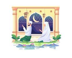 casal muçulmano em oração em uma mesquita no ramadan kareem, happy eid mubarak vetor