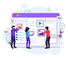 conceito de web design, pessoas criando um design de aplicativo web, conteúdo e ilustração de local de texto vetor
