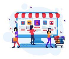 conceito de compras online, pessoas comprando produtos na loja online ilustração vetorial plana