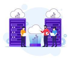 conceito de computação em nuvem, pessoas trabalhando em laptop e servidor, armazenamento digital, data center vetor