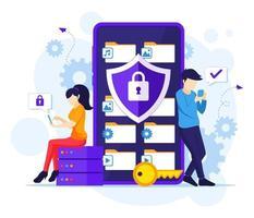 conceito de proteção de dados, pessoas protegendo dados e arquivos em um smartphone gigante vetor