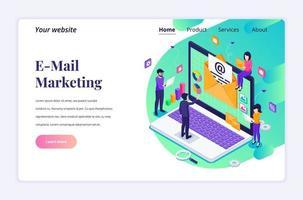 conceito de design de página de destino isométrica de e-mail marketing, serviços de mala direta com pessoas que trabalham perto de um laptop gigante. ilustração vetorial