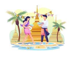 casal feliz celebra o festival Songkran jogando água um no outro vetor